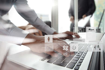 methods: double exposure of new modern laptop computer with businessman hand working and business strategy as concept