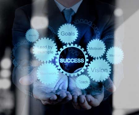 engranajes: doble exposición de la mano de negocios muestra el concepto gráfico de éxito del negocio de engranajes