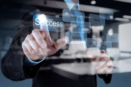 business in hand: Double exposure of businessman hand shows business success chart diagram concept
