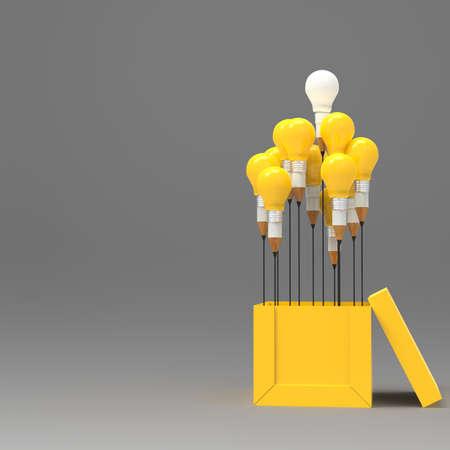 図面のアイデア鉛筆と電球コンセプト創造とリーダーシップの概念としてボックスの外側