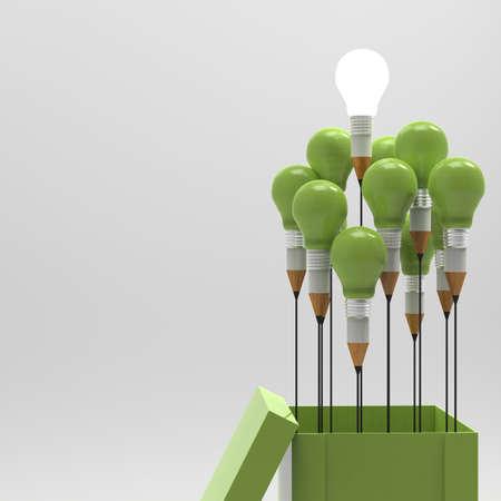 konzepte: Zeichnung Idee Bleistift und Glühbirne Konzept außerhalb der Box, wie kreativ und Führungskonzept