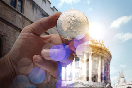 internet network: close up of businessman hand showing texture the world with digital social media network diagram concept  Stock Photo