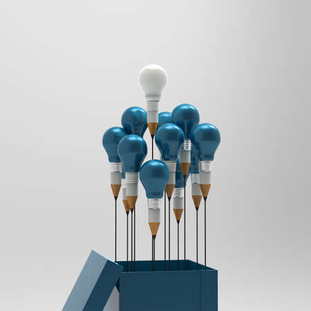 creative concept: drawing idea pencil and light bulb concept outside the box as creative and leadership concept