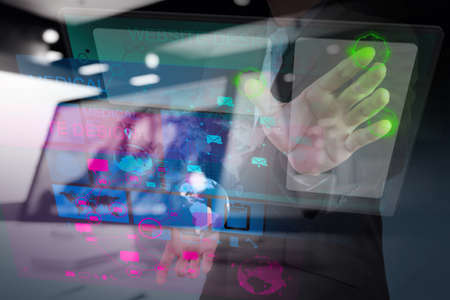 applications: double exposure of web designer working with the new computer interface as Web design concept Stock Photo