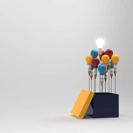 dessin crayon idée et le concept de l'ampoule en dehors de la boîte comme concept créatif et le leadership
