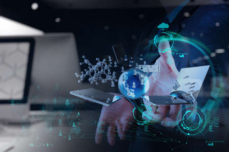 molecules: double exposure of businessman hand shows modern technology as concept