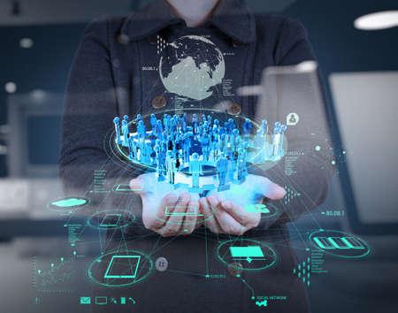 ビジネスマンの新しい近代的なコンピューターでの作業の二重露光概念としての社会ネットワーク構造を表示します。 写真素材