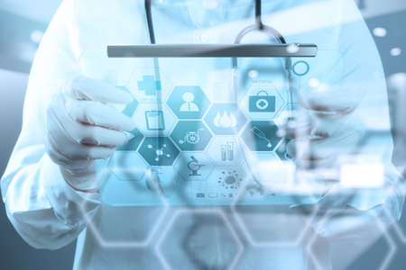 double exposure of Medicine doctor working with modern computer interface as medical concept
