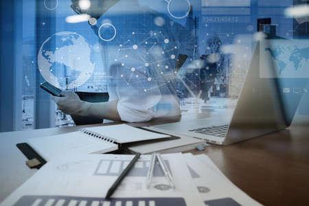 Cable network: trabajar con la tecnolog�a moderna y efecto de capa digital como estrategia de negocio concepto de mano de negocios Foto de archivo