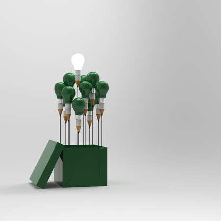 bombillas: dibujo idea lápiz y luz bulbo concepto fuera de la caja como concepto creativo y liderazgo