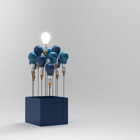 idea bulb: drawing idea pencil and light bulb concept outside the box as creative and leadership concept