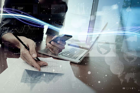 interactivity: Waves of blue light and businessman using on smartphone with digital layer effect  as concept Stock Photo