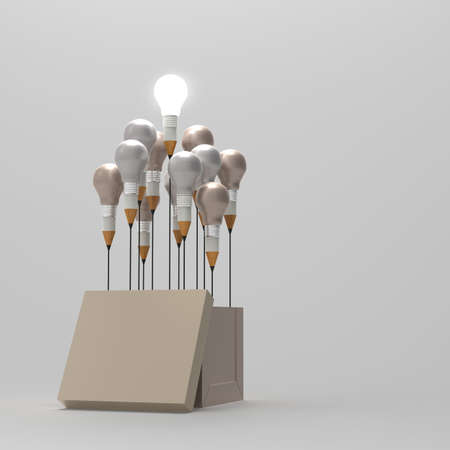 best leadership: drawing idea pencil and light bulb concept outside the box as creative and leadership concept