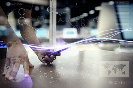 interactivity: Waves of blue light and businessman using on smartphone with digital layer effect as concept