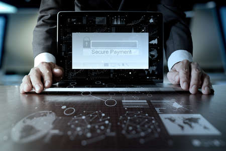 secure payment: hands using laptop and holding credit card with Secure payment on the screen as Online shopping concept