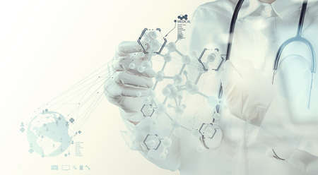 Double exposure of scientist doctor hand touch virtual molecular structure in the lab as medical concept