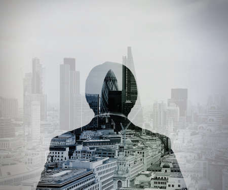 business marketing: double exposure of back view of success businessman looking at london building as concept
