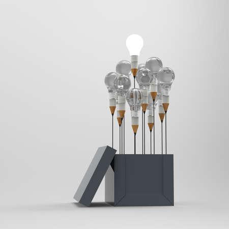 creative idea: drawing idea pencil and light bulb concept outside the box as creative and leadership concept