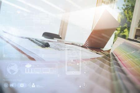 ラップトップ コンピューターと smarth の携帯電話とデジタル デザイン ダイアグラム レイヤー レスポンシブ web デザイン コンセプトとして木製の机