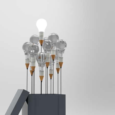 innovación: dibujo idea lápiz y luz bulbo concepto fuera de la caja como concepto creativo y liderazgo