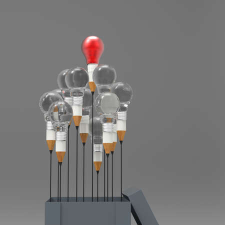 electric bulb: drawing idea pencil and light bulb concept outside the box as creative and leadership concept