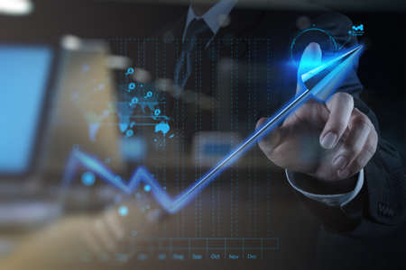 trend: double exposure of businessman hand touch 3d virtual chart business as concept Stock Photo