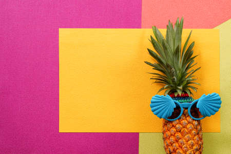 fruit: Summer and Holiday concept.Hipster Pineapple Fashion Accessories and Fruits on colorful background