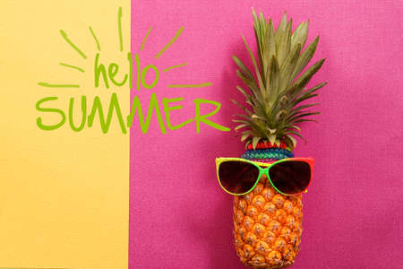 fruit: Summer and Holiday concept.Hipster Pineapple Fashion Accessories and Fruits on colorful and hello summer word background