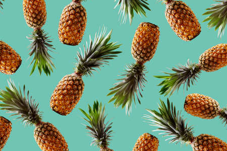Retro design tropical style concept.Pattern with hipster pineapple summer decoration background