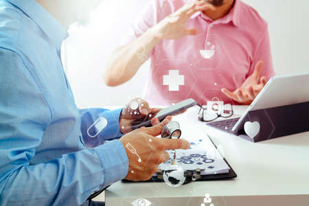 Medical doctor using mobile phone and consulting businessman patient having exam as Hospital professionalism concept with VR icon diagram