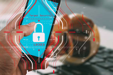General Data Protection Regulation (GDPR) and Security concept.Computer Halogram target protection locked with success on Smart phone with all network working and technology.