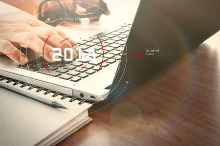 Concept of target focus digital diagram,graph interfaces,virtual UI screen,connections netwoork.Hipster finance analist working at trendy office Stockfoto