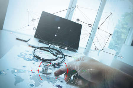 Concept of target focus digital diagram,graph interfaces,virtual UI screen,connections netwoork.medical doctor woork analist working at modern hospital