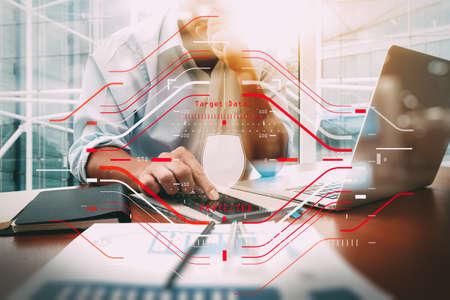 ビジネスおよびすべての技術のデータをコンピュータハログラムスキャンでデータセキュリティシステムシールド保護検証コンセプト