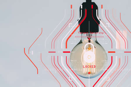 General Data Protection Regulation (GDPR) and Security concept.Computer Halogram target protection locked with success on light bulb as business creative working and technology.