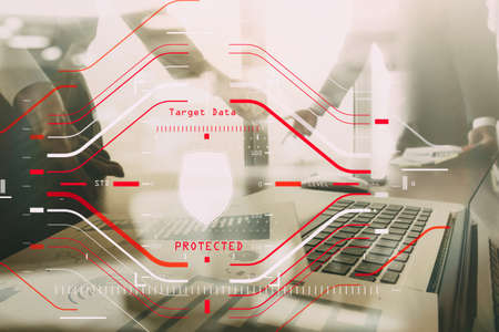 Data Security system Shield Protection Verification concept with computer halogram scanning on data of business and all technology