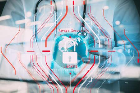 Allgemeine Datenschutzverordnung (DSGVO) und Sicherheitskonzept.Computer-Halogramm-Zielschutz mit Erfolg auf betriebsmedizinischen und medizinischen Arbeiten und Technologie gesperrt. Standard-Bild - 97657095
