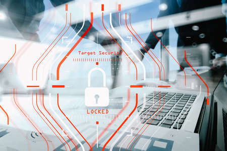 General Data Protection Regulation (GDPR) and Security concept.Computer Halogram target protection locked with success on business finance working and technology.