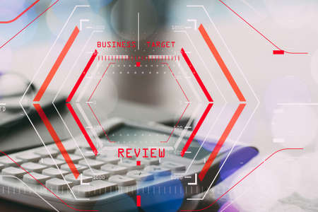 Online Reviews Evaluation Concept with computer halogram scanning on data of business and all new technology Standard-Bild