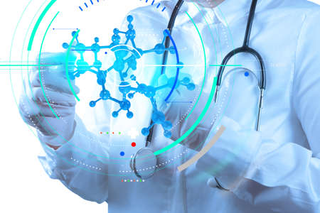 Accurate diagnosis appropriate treatment medical concept.scientist doctor hand touch virtual molecular structure in the lab Stock Photo - 99852165