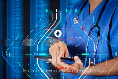 Accurate diagnosis appropriate treatment medical concept.Doctor working on a digital tablet with digital background as concept