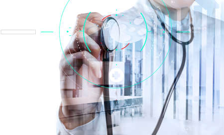 Accurate diagnosis appropriate treatment medical concept.Doctor hand working with stethoscope and laptop computer digital tablet with virtual dashboard interface