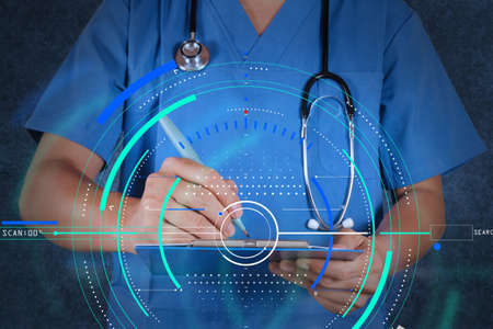Accurate diagnosis appropriate treatment medical concept.medical doctor with stethoscope writing on texture background