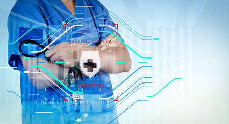 Health protection. Medical and health care concept.Double exposure of smart medical doctor working with operating room as concept  版權商用圖片