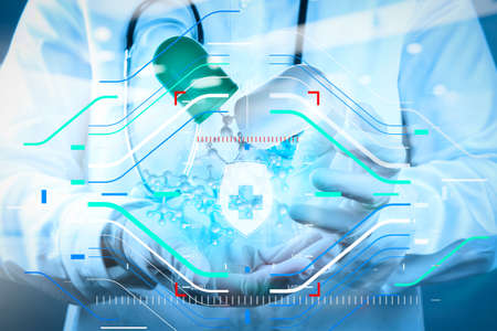 Health protection. Medical and health care concept.double exposure of scientist doctor hand holds virtual molecular structure in the lab 版權商用圖片