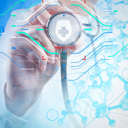 Health protection. Medical and health care concept.Double exposure of scientist doctor hand holds virtual molecular structure in the lab as concept