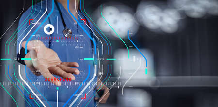 Accurate diagnosis appropriate treatment medical concept.Medicine doctor hand working with modern computer interface as medical concept Banco de Imagens - 100195505