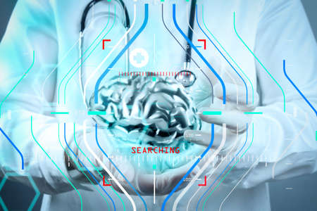 Accurate diagnosis appropriate treatment medical concept.medical  doctor with brain3d meatl in his hands as concept Stock Photo