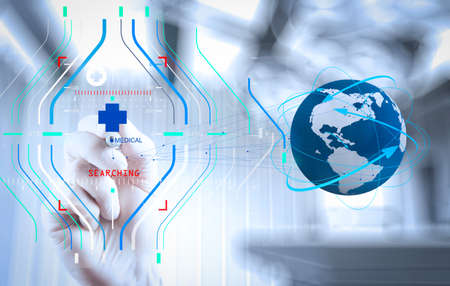Accurate diagnosis appropriate treatment medical concept.Medical Doctor hand  drawing the world globe in his hands as medical network concept  Stock Photo