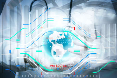 Health protection. Medical and health care concept.Double exposure of smart medical doctor holding the world with network diagram as concept